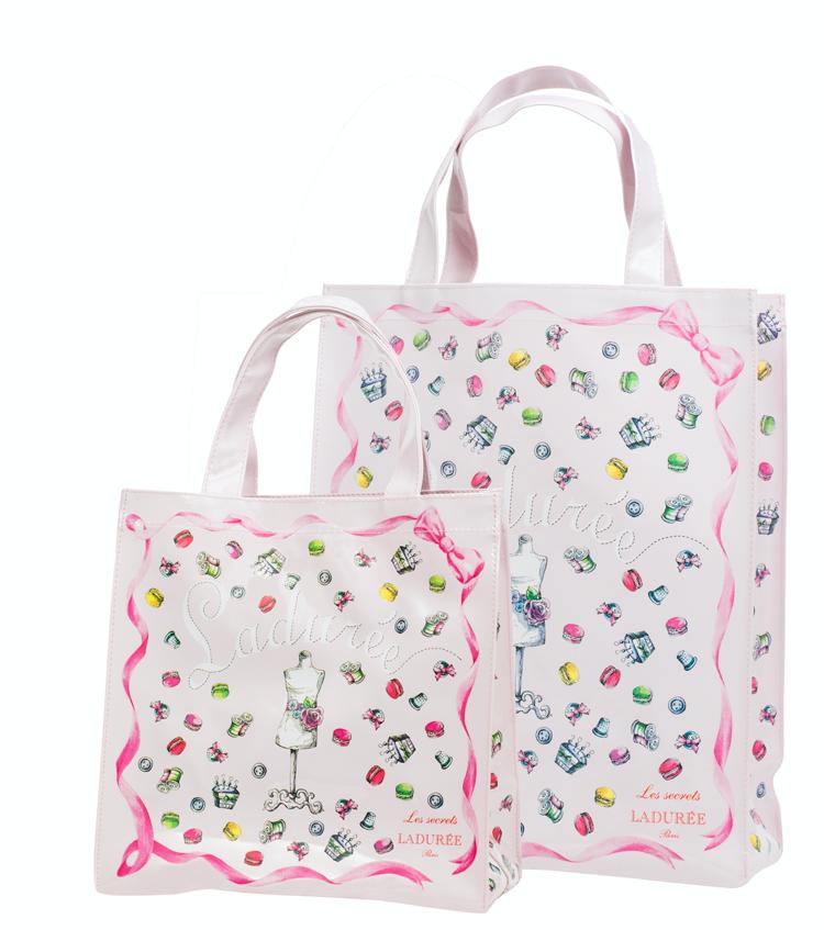 Shopping bag Charm Couture decorata con macaron e accessori da cucito, Ladurée