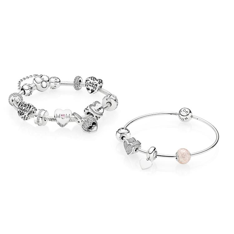 Bracciali con charms Cuori d'Amore, Essence Collection, Pandora