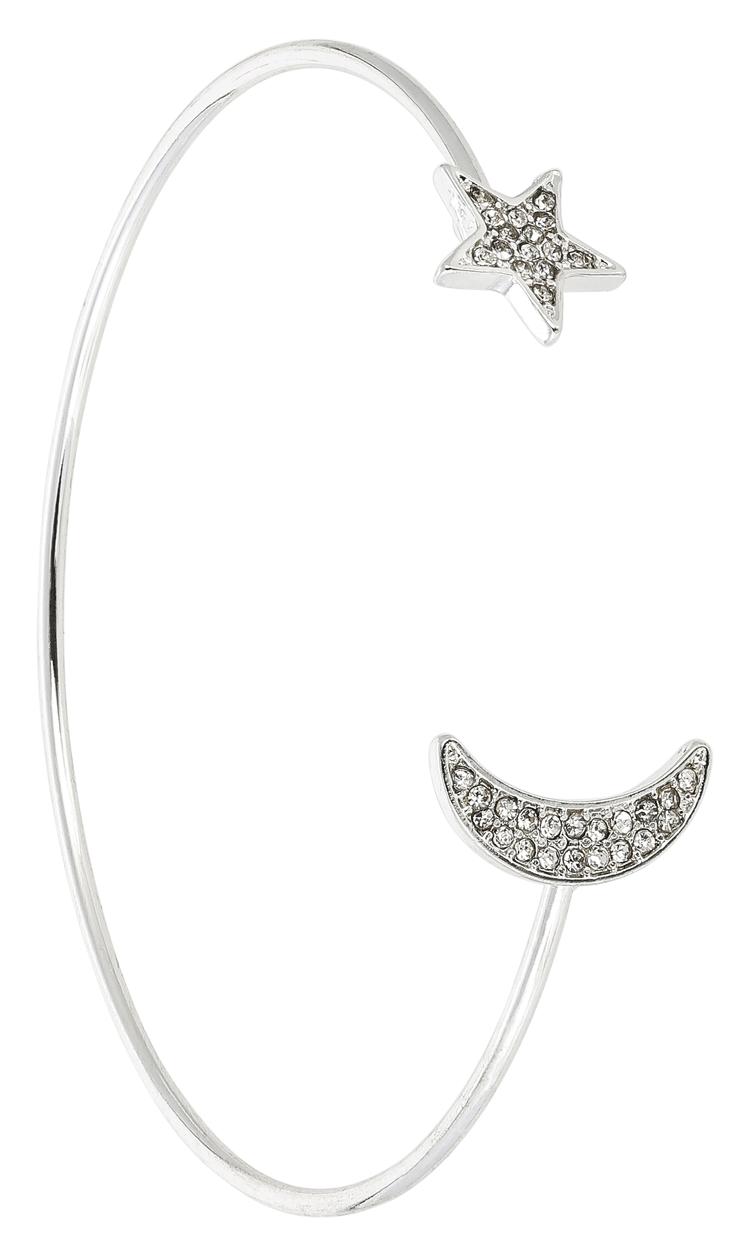 Bracciale silver con luna e stelle in zirconi, Bijou Brigitte